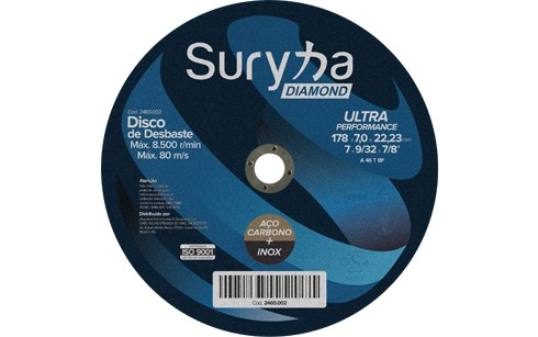 Disco de Desbaste 178 X 7,0 X 22,2 Inox/Aço Suryha Diamond