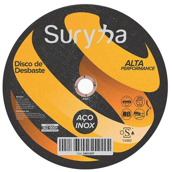 Disco de Desbaste Dep. 180 x 6,4 x 22 Suryha Inox